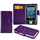 (Purple) T-mobile Vairy Touch 2 Super Thin Faux Leather Suction Pad Wallet Case Cover Skin With Credit/Debit Card Slots By Spyrox