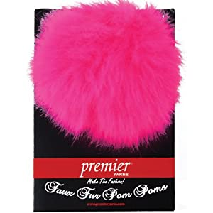 Premier Yarns Faux Fur Pom Pom Card, Flamingo