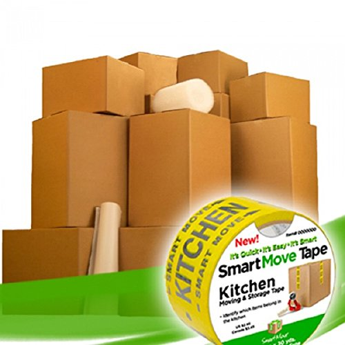 UBOXES Moving Boxes – 2 Room Bigger Smart Moving Kit – 28 Boxes ,Tape, & More