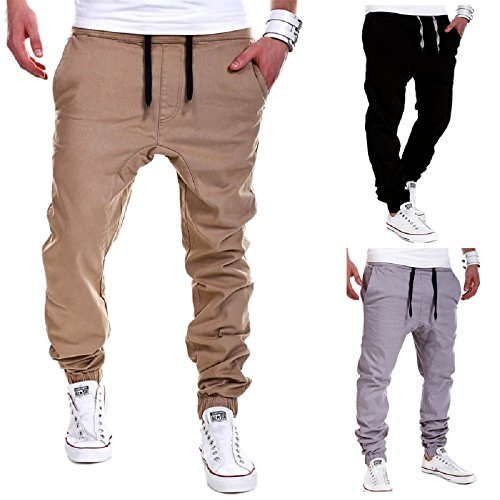 Calsky Men's Outdoor Casual Running Jogger Bottom Pants Trousers (Medium, Khaki) (Men Jogger Pants compare prices)