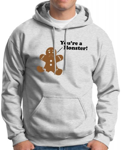 You'Re A Monster Gingerbread Man Hoodie Sweatshirt Small Ash
