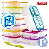 Bento Lunch Box 3 Compartment Food Containers – Set of 10 Storage meal prep Container Boxes– Ideal for Adults, Toddler, Kids, Girls, and Boys – Free 2-in-1 Fork/Spoon & Puzzle Sandwich Cutter