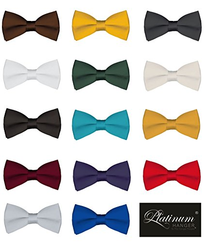 Mens Classic Pre-Tied Satin Formal Tuxedo Bowtie Adjustable Length Large Variety Colors Available, by Platinum Hanger