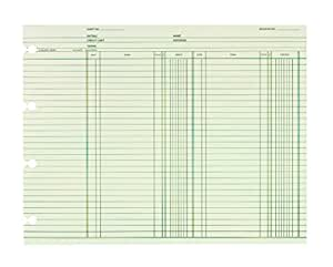 Wilson Jones Ledger Paper / Sheets, Regular Ledger for Post Binders, 9-1/4 x 11-7/8 Inches, Green, 100 Sheets/Pack (GN2BA)