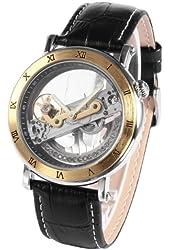 AMPM24 Gold Tone Steampunk Transparent Skeleton Mens Automatic Mechanical Sport Watch PMW167