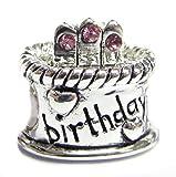 925 Sterling Silver Pink Rose CZ Happy Birthday Cake W/ Heart Love Charm For European Charm Bracelets Birthstone October