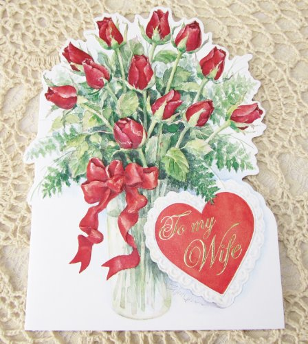 Carol Wilson Valentines Day Card - To My Wife - Dozen Red Roses