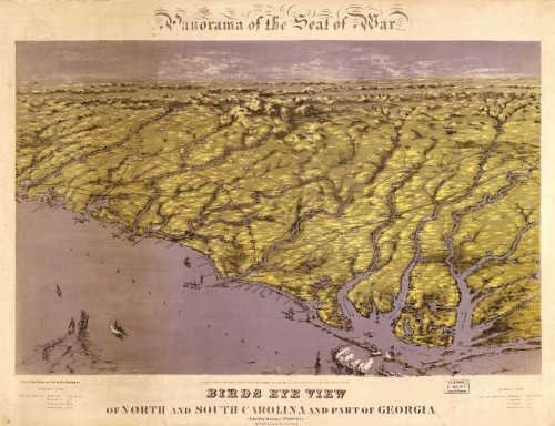 Civil War map Panorama of the seat of war ; birds eye view of North and South Carolina and part of Georgia. WHOLESALE package of 25 posters.