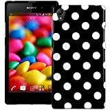 Black & White Polka Dot XYLO-GEL Skin / Case / Cover & ClearICE Screen Protector for the Sony Xperia Z1 Mobile Phone.
