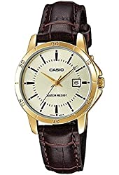 Casio Women's LTP-V004GL-9A Genuine Leather Band Analog Watch