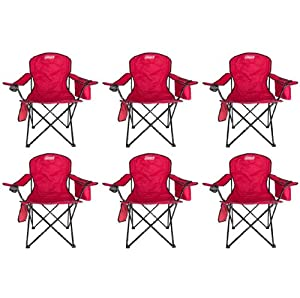 (6) Coleman Camping Oversized Quad Chairs w  Cooler by Coleman