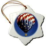 3drose Hot Air Balloon Freedom Snowflake Porcelain Ornament, 3-Inch