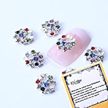buy Bling Bling 10 Pcs Colorful Ab Diamond Rhinestone Christmas Wreath Designed Nail Art Decorations 3D Nail Stickers