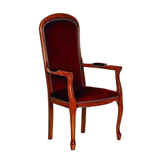 Fauteuil Voltaire assise haute velours bordeaux, Dim L700 x P650 x H1250 mm -PEGANE-