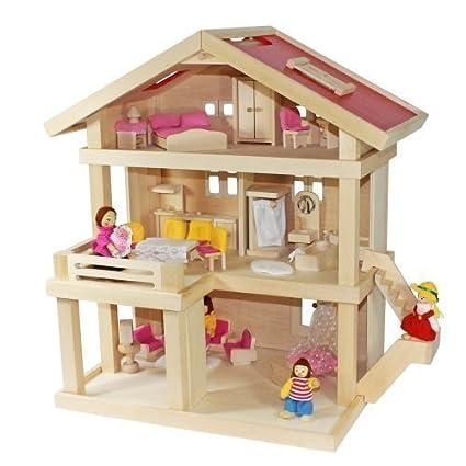 Freda rose - Maison de poupées - Villa résidentielle 3 étages - en bois + Famille de poupées + Housses + Ensemble de meubles 26 pièces + Berceau bébé