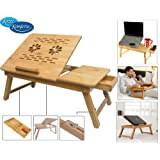 Speedwav Multipurpose Laptop Table Bed Tray Foldable, Wooden and Ventilated For Study / Reading / Eating / Craft-work...