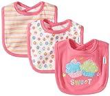 Gerber Baby-Girls  3 Pack Interlock Dribbler Bib Cupcake, Pink, One Size