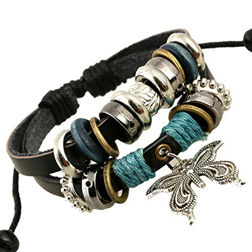 Adorable Woman Vintage Multilayer Leather Beaded Charms Sweetheart Butterfly Hand Chain Owl Cross Boho Bracelet Retro Cuff Style Chain Bangle
