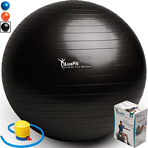 Exercise Ball, LuxFit Premium EXTRA THICK Yoga Ball '2 Year Warranty' - Swiss Ball Includes Foot Pump. Anti-Burst - Slip Resistant! 45cm, 55cm, 65cm, 75cm, 85cm Size Fitness Balls (Black, 75cm)