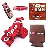 Bacon Lovers Gift Pack (5pc Set) - Bacon Socks, I Love Bacon Koozie, I Heart Bacon Wristband, Lip Balm & Toothpicks