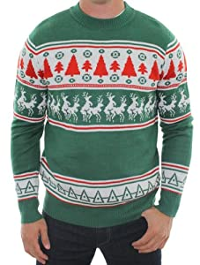 Ugly Christmas Sweater - Naughty Sweater with Reindeer Conga Line by Tipsy Elves