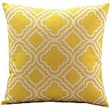"""Createforlife Cotton Linen Decorative Throw Pillow Case Cushion Cover Argyle Pattern Lemon Square 18"""""""