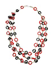 Chic Collection Red & Black Glass Ring Necklace For Women