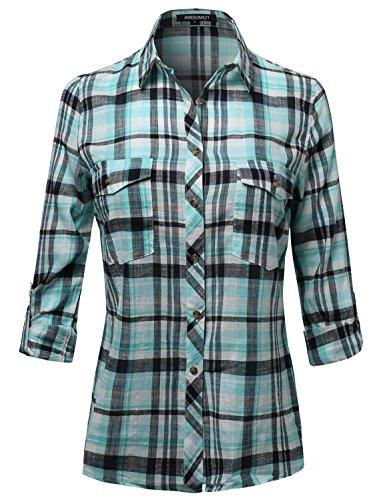 Long Sleeve Lightweight Plaid Button Down Shirt Mint Size M