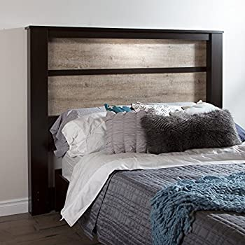 South Shore Gloria Headboard with Lights, King 78-Inch, Chocolate and Weathered Oak