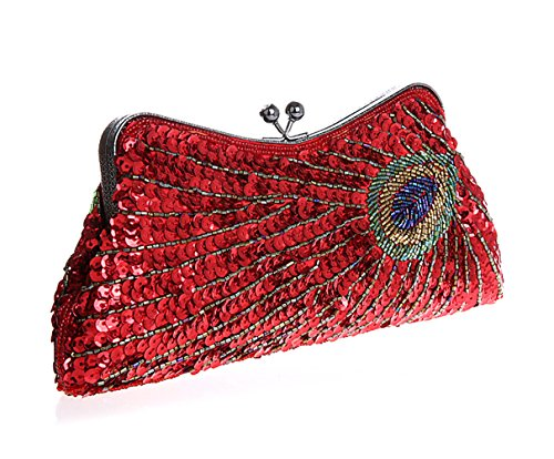 Minitoo Mm138 Womens Fashion Collection Handmade Vintage Red Satin Sequin Beading Clutch Bags Evening Party Handbags