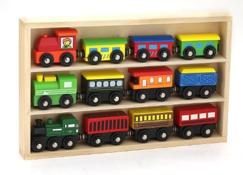 12 Pcs Wooden Engines & Train Cars Collection fits Thomas, Brio, Chuggington (Toy Trains For Kids compare prices)