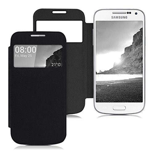 kwmobile フリップスタイル保護カバー Samsung Galaxy S4 Mini i9190 / i9195用 黒色 - ふた付きフリップカバー