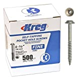 Kreg SML-F150 Pocket Hole Screws 1-1/2-Inch #2 Square Drive Washer-Head 500ct
