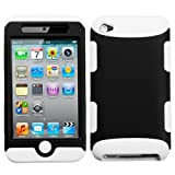 Hybrid Black and Solid White Total Defense Faceplate Hard Plastic Protector Snap-On Cover Case For Apple iPod Touch 4 4th Generation