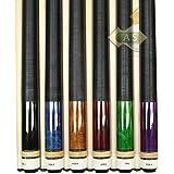 "Set Of 6 Aska L2 Billiard Pool Cues, 58"" Hard Rock Canadian Maple, 13mm Hard Tip, Mixed Weights, Black, Blue,..."