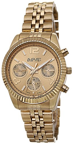 August Steiner Women's Swiss Quartz Multifunction Gold-tone Stainless Steel Bracelet Watch