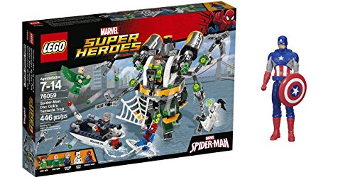 LEGO Super Heroes Spider-Man: Doc Ock's Tentacle Trap 446 Pcs & free Gifts Super Hero Adventures Series Captain America (Colors may vary) Toys