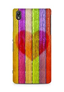 Amez designer printed 3d premium high quality back case cover for Sony Xperia Z2 (Multicolored wooden planks with a heart)