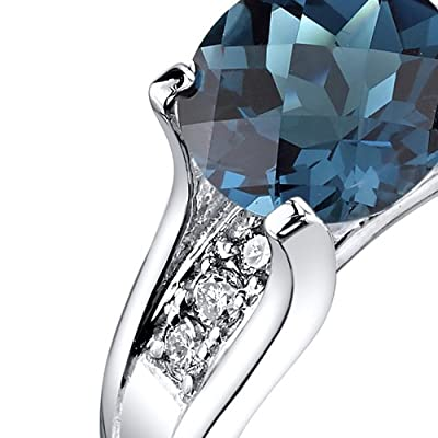 Revoni 14ct White Gold London Blue Topaz Diamond Cathedral Ring 2.25 Carat