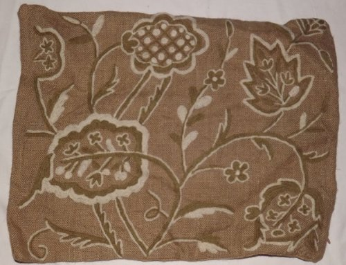 Crewel Pillow Sham Lotus White and Green on Natural Brown Jute20 (20X20)