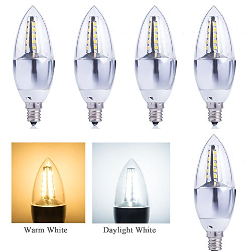 (5-Pack)5-Watt Dimmable LED Candelabra Bulb, 40-Watt Bulb Equivalent, E12 Base Chandelier Bulb Replacement C37 Torpedo Shape DayLight White 5000K (Dimmable Led Candelabra Bulb compare prices)