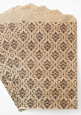 MyCraftSupplies 100 Kraft Flat Merchandise Bags with Black Damask Print