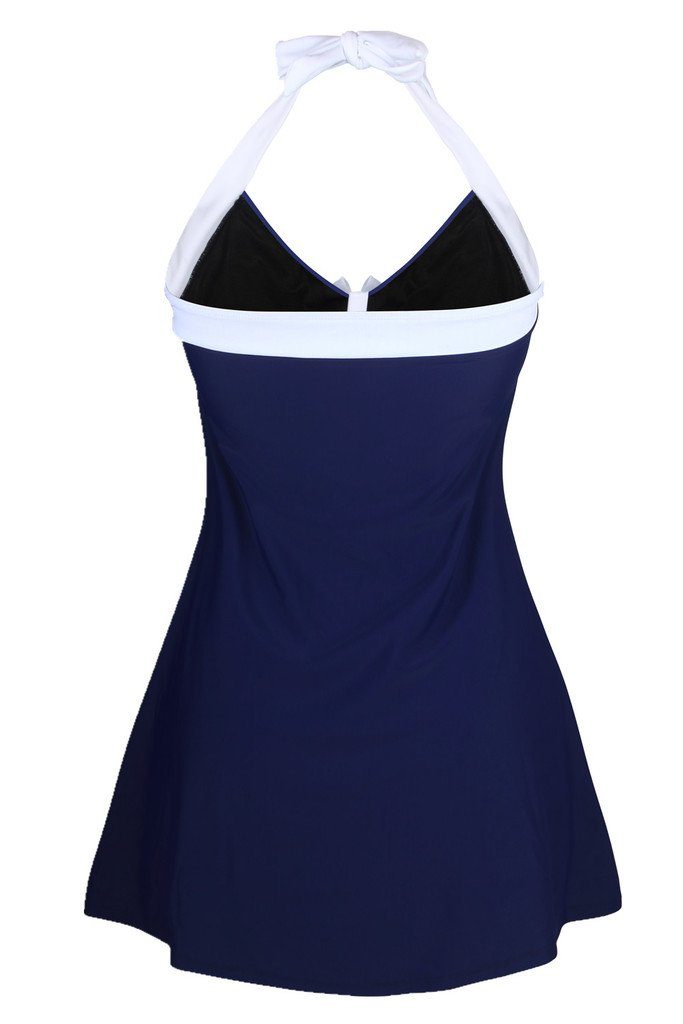 Dokotoo Womens Vintage Sailor Pin Up One Piece Skirtini Cover Up Swimdress (FBA) 3