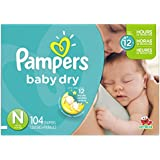 Pampers Baby Dry Diapers Size-N Super Pack, 104-Count