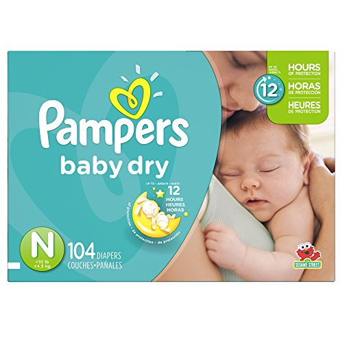 Pampers Baby Dry Diapers Super Pack, Size N, 104 Count