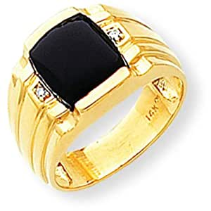 14K Gold Onyx & Diamond Mens Ring Jewelry Size 10 Amazon.com
