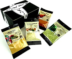 The Pantry Club Gourmet Dip Mixes 4-Flavor Variety: One 0.91 oz Packet of Sesame Garlic, One 0.91 oz Packet of Cucumber Dill, One 1.25 oz Packet of Buffalo Bleu, and One 1.15 oz Packet of Jalapeño in a Gift Box