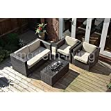 Porto Rattan Garden or Conservatory Furniture Corner Sofa Set - Fully Assembled (MIXED CHOCOLATE)