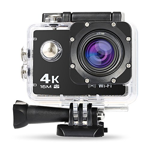 NEXGADGET Cámara Deportiva 4K WiFi Impermeable Sumergible hasta 30m Sensor de Sony 16MP Ultra HD Gran Angular Lente de 170 Grados 2 pulgadas de Pantalla LCD con Accesorios Múltiples