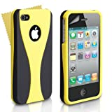 Black And Yellow 2-Part Hard Back Case Cover For Apple iPhone 4/4S With Screen Protector Film